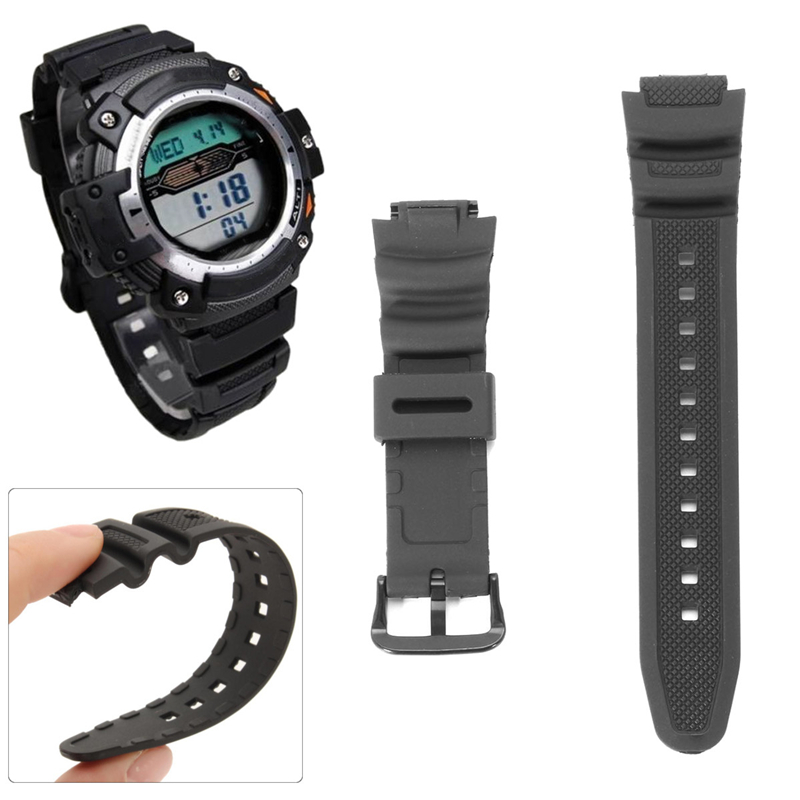 Black Replacement Wristband Strap For CASIO Digital Watch AQ-S810W SGW-300H SGW-400H AU Rubber Watchband For Electronic Watches
