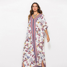 Mexican Boho Dress Summer 2019 Women Large Size Maxi Beach Dress Printed Ladies Batwing Sleeve V Neck Loose Dresses For Women цены