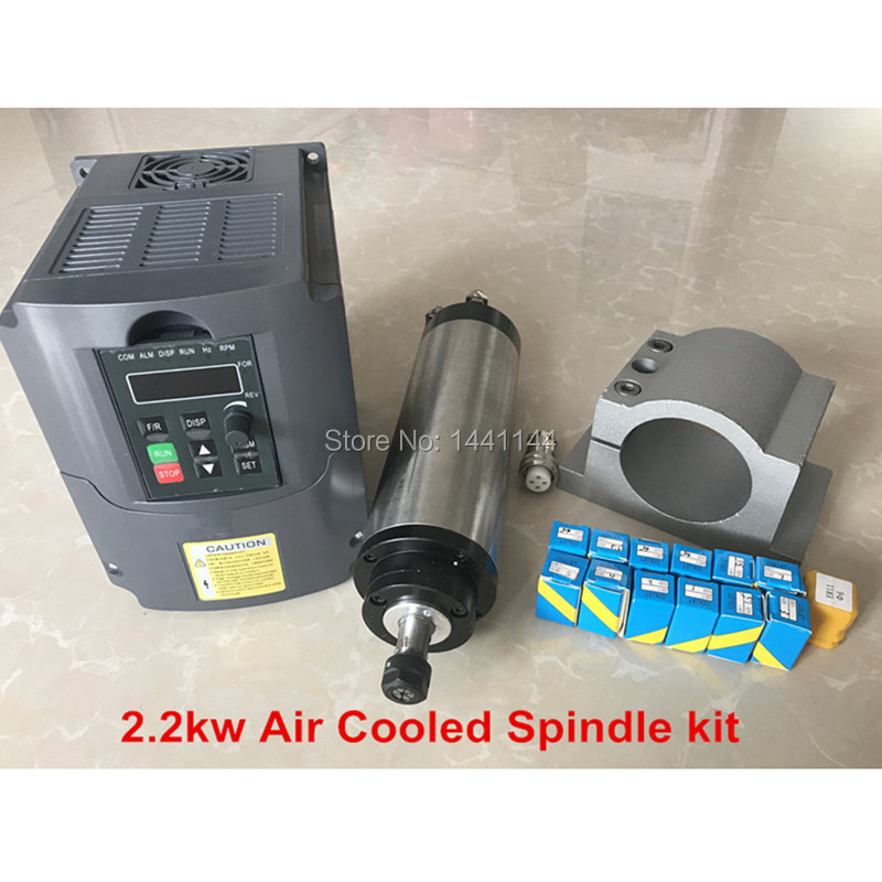 <font><b>2.2KW</b></font> 220V ER20 <font><b>Air</b></font> <font><b>Cooled</b></font> <font><b>Spindle</b></font> Motor + <font><b>2.2KW</b></font> 220V Inverter + 80mm Clamp + 1set ER20 Collet image