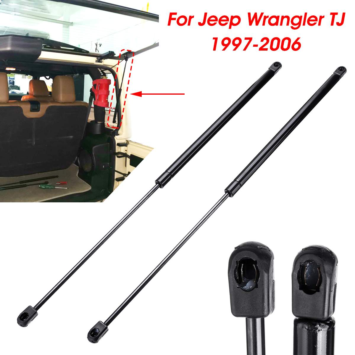 1Pair Car Rear Trunk Hood Lift Supports Props Rod Arm Shocks Strut Bars For Jeep For Wrangler TJ 1997-2006 55076310AB 42491Pair Car Rear Trunk Hood Lift Supports Props Rod Arm Shocks Strut Bars For Jeep For Wrangler TJ 1997-2006 55076310AB 4249