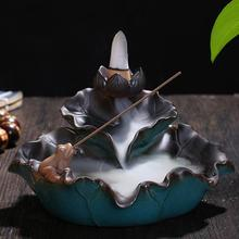 цены Lotus Leaf Ceramic Backflow Incense Burner Lotus Censer Smoke Waterfall Incense Holder Home Decor Aromatherapy Environment