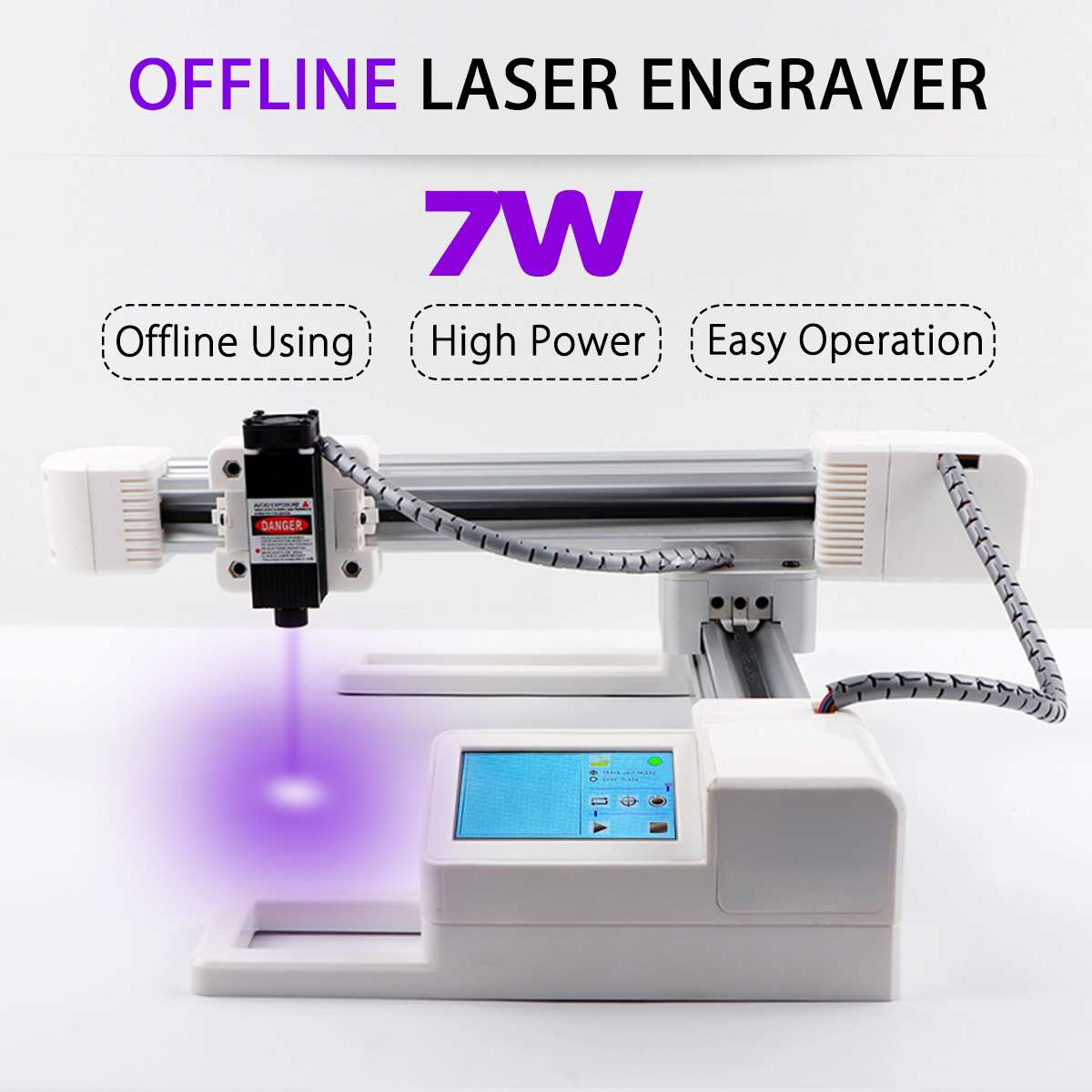 3W/7W USB Offline Laser Engraver DIY Logo Mark Printer Big Power CNC Laser Engraving Carving Machine 15.5x17.5cm Carving Area