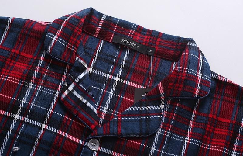 Image 4 - Новинка, 100% хлопок, мужской осенне зимний Пижамный костюм с длинными рукавами и брюками, красная фланелевая одежда для сна в клетку, бархатный мягкий комплект одежды-in Пижамные комплекты для мужчин from Нижнее белье и пижамы on AliExpress - 11.11_Double 11_Singles' Day