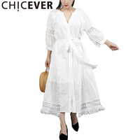 CHICEVER Autumn Embroidery Dress For Women Hollow Lantern Sleeve Loose Big Size Asymmetrical Dresses Female Clothes Fashion New