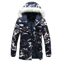 Fashion Camouflage Parkas Mens Military Medium-long Winter Coat Thickening Cotton-padded Winter Jacket Men With Fur Hood 5XL 2017 camouflage parkas men military medium long winter larger size m 5xl men thickening cotton padded jacket men with fur hood