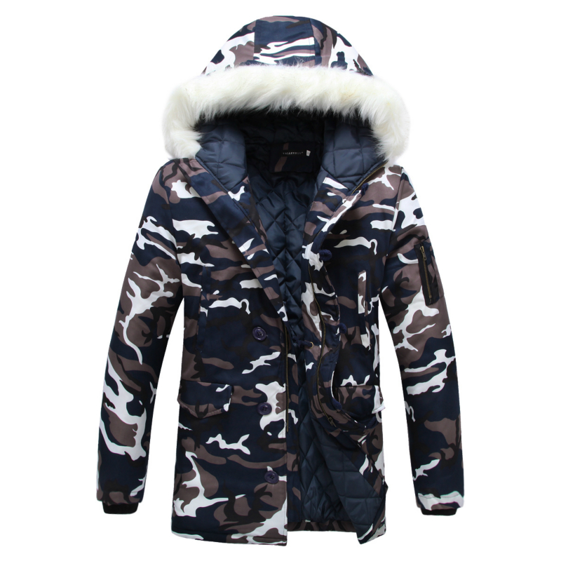 Fashion Camouflage   Parkas   Mens Military Medium-long Winter Coat Thickening Cotton-padded Winter Jacket Men With Fur Hood 5XL