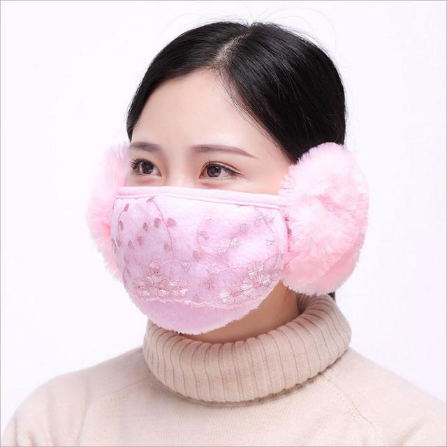 Women Ear protective face mask adults Windproof Mouth-muffle anti-dust mouth mask Anti Haze Flu Face masks winter respirator 2