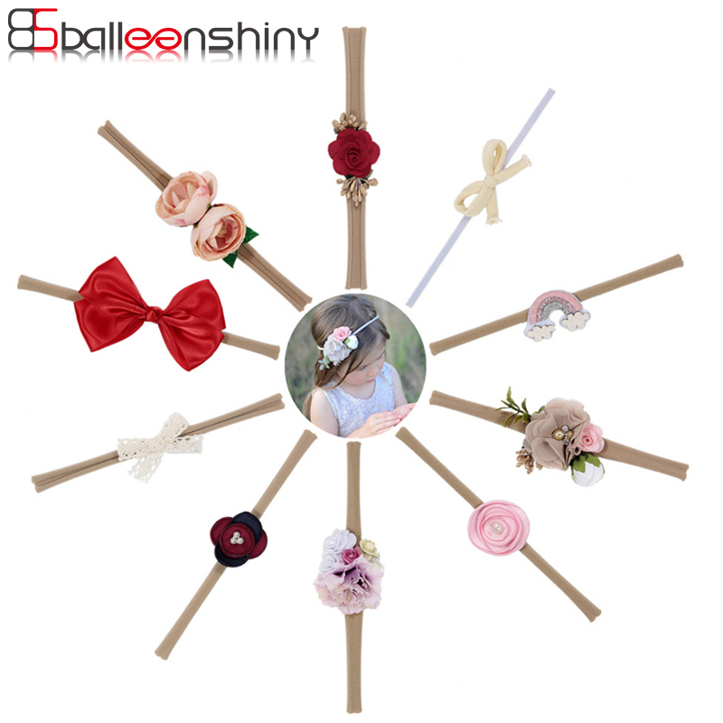 BalleenShiny Princess Bow Flower Headband Infant Bebe Fashion Elastic Nylon Hair Band Headwear Baby Kids Hair Ornament For Gift