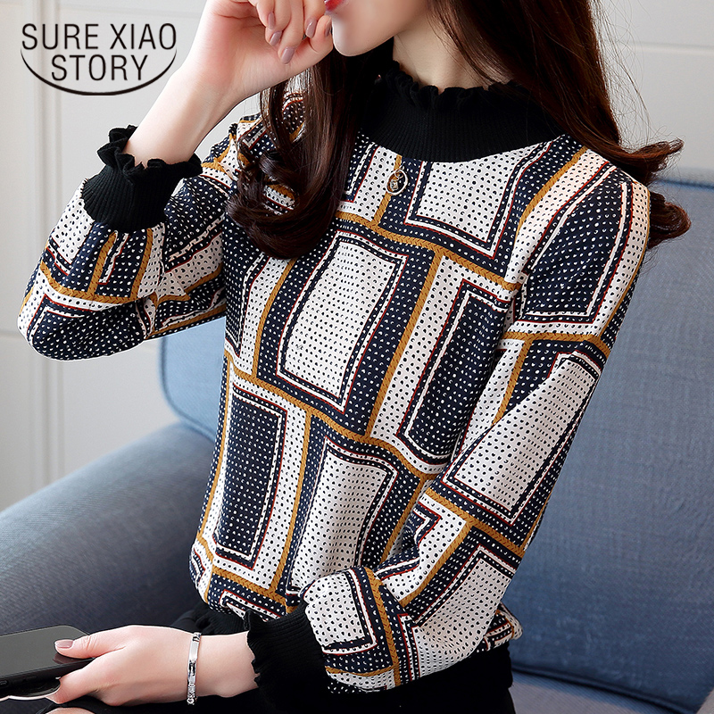 New 2018 Fashion Casual Striped Plaid Chiffon Women Blouse Shirt Long Sleeve Chiffon Ladies Female Tops Blusas Shirts 0715 40