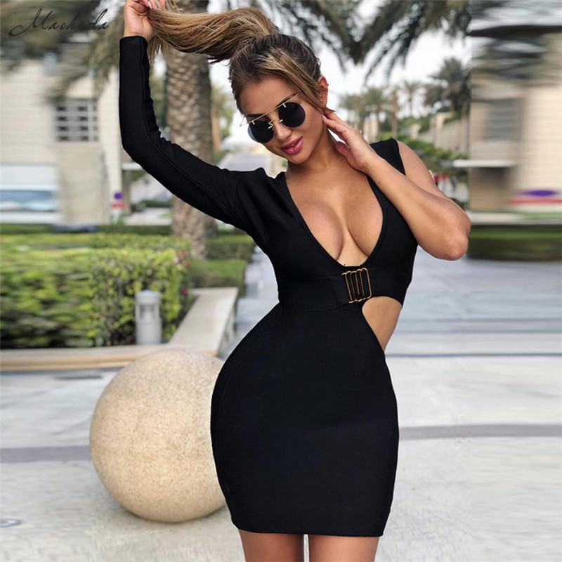 Bardot Spaghetti Black Thigh Slit Bodycon Dress