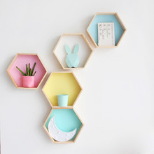 Hot Wood Hexagon Wall Decoration Baby Room/bedroom Candy Organization Hanger Photography Props Shelves Storage Decor Polygon Box