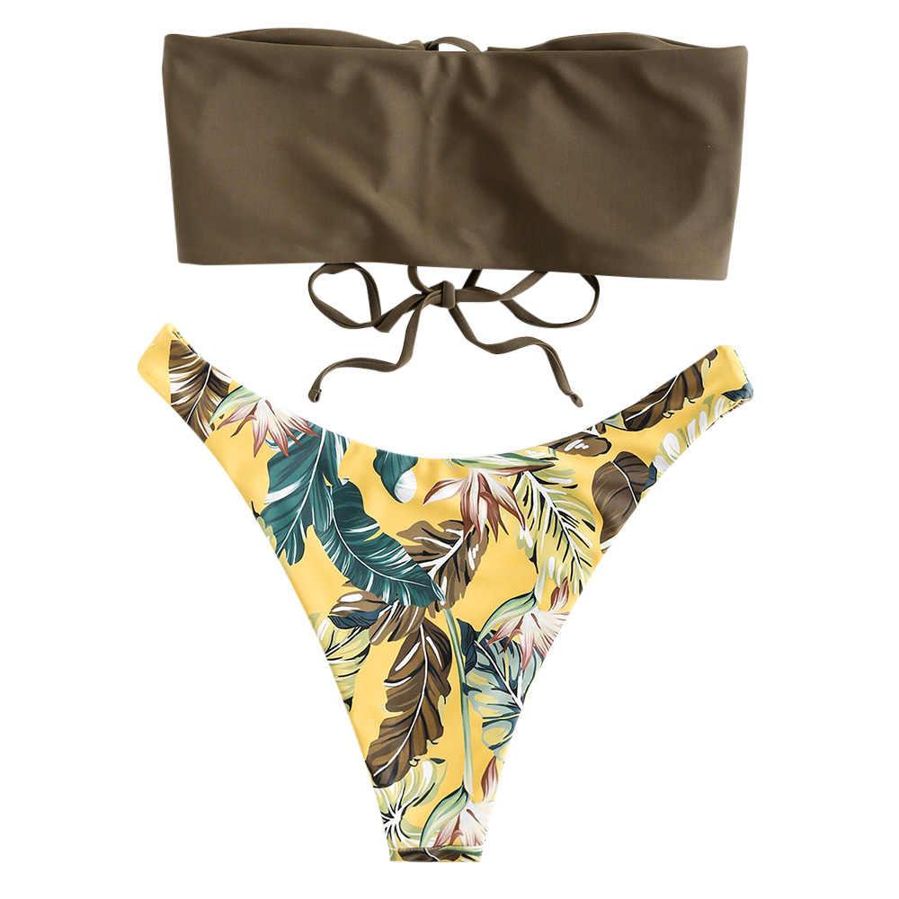 ZAFUL Sexy bikini kobiety stroje kąpielowe wzburzyć rocznika Bandeau w paski dół od bikini strój kąpielowy bikini garnitury oddzielna kobieta strój kąpielowy