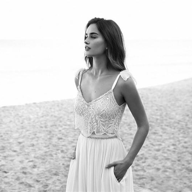 2019 Two Piece Lace Boho Wedding Dresses Spaghetti Neck Beads Backless Bride Gowns Sweep Train Beach Chiffon Wedding Dress in Wedding Dresses from Weddings Events