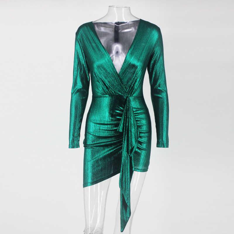 מתכתי מבריק בהיר קוקטייל שמלה ארוך שרוול מיני שמלת מסיבת מועדון ארוך זרוק חגורת חדש אלגנטי קיץ נשים Vestidos Coctel