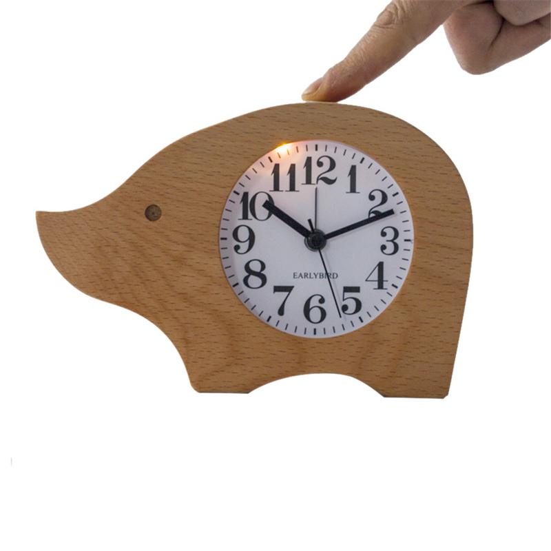 Piglet Elm Alarm Clock Innovative Student Personality Desk Clock Rhinoceros Bedroom Silent Bedside Clock (without Battery)