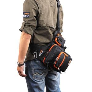 Image 5 - iLure Waterproof Canvas Fishing Bag Multi Purpose Outdoor Bag Reel Lure Bags Pesca Fishing Tackle Bag Green/Orange/Black