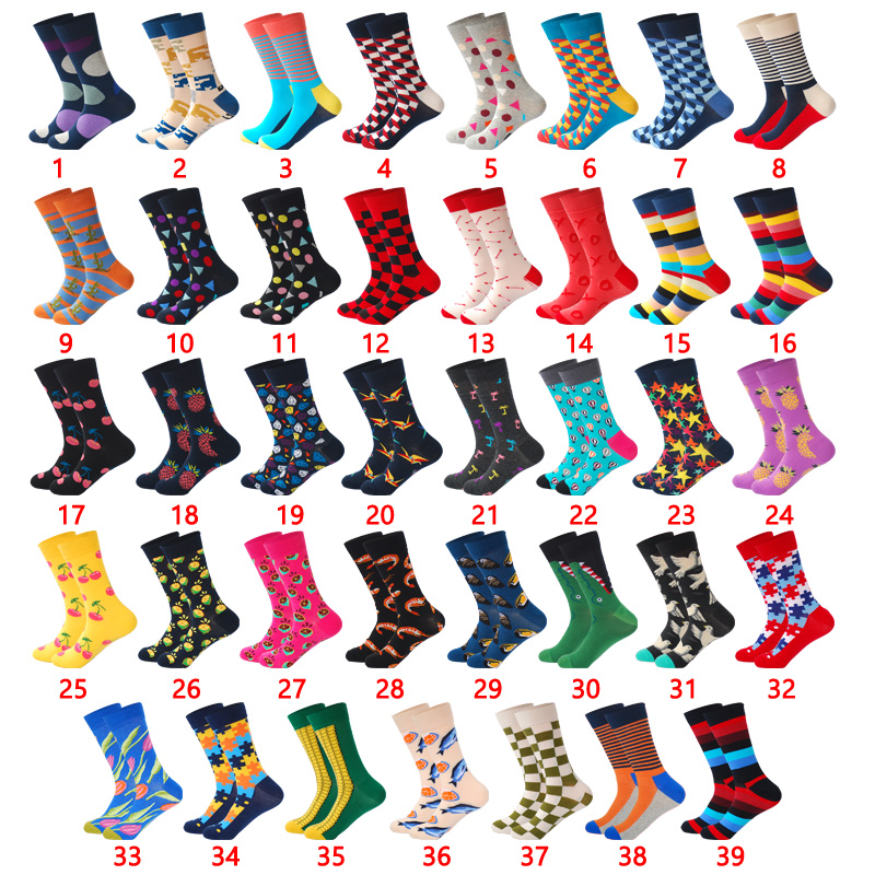 LIONZONE Hot Sales Street Wear Men Socks Joker Funny Colorful Design Combed Cotton Happy Socks Men Fashions Wedding Gift