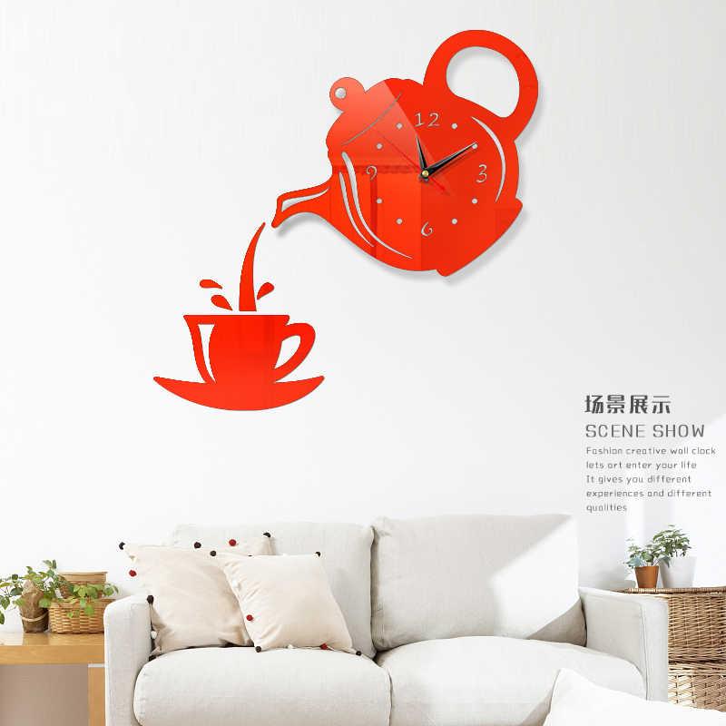 Czajnik do kawy DIY 3D numer ścienny lustro zegarowe naklejki dekoracje do domowego biura artystyczny design pokój nowoczesny design cichy zegar