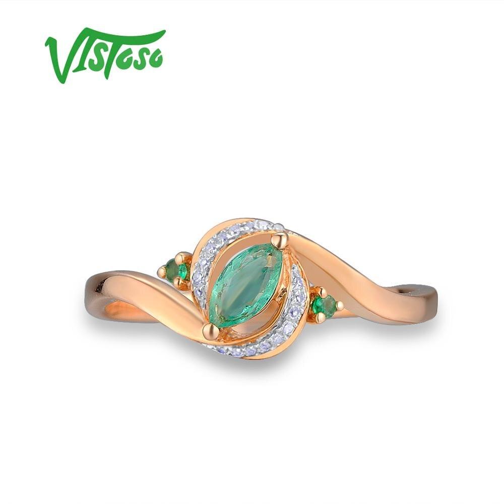 VISTOSO Gold Rings For Women Genuine 14K 585 Rose Gold Ring Magic Emerald Sparkling Diamond Engagement Anniversary Fine Jewelry