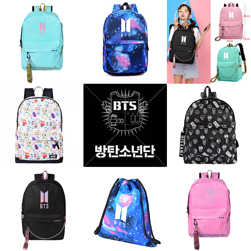 BTS Travel Laptop backpack for women oxford unisex softback travel backpacks BT21 Cartoon printing  backpack USB Headphone Port