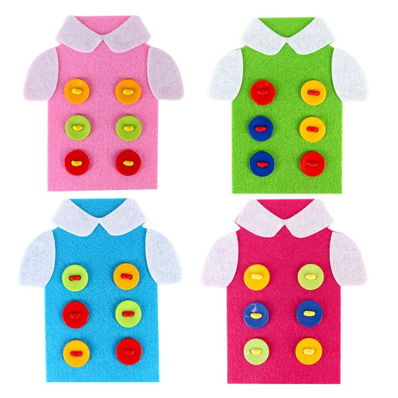 Kids Educational Toys Threading Sewing Buttons Assembly Cartoon DIY Handmade Toys Non-Woven Cloth