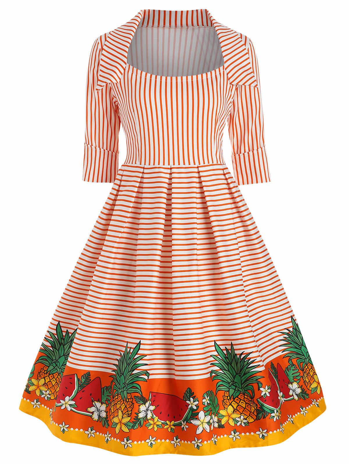 Sovalro в полоску с принтом «фрукты» Винтаж платье Для Женщин Половина рукава квадратный воротник элегантный качели вечерние платье Весна Повседневное платье трапециевидной формы