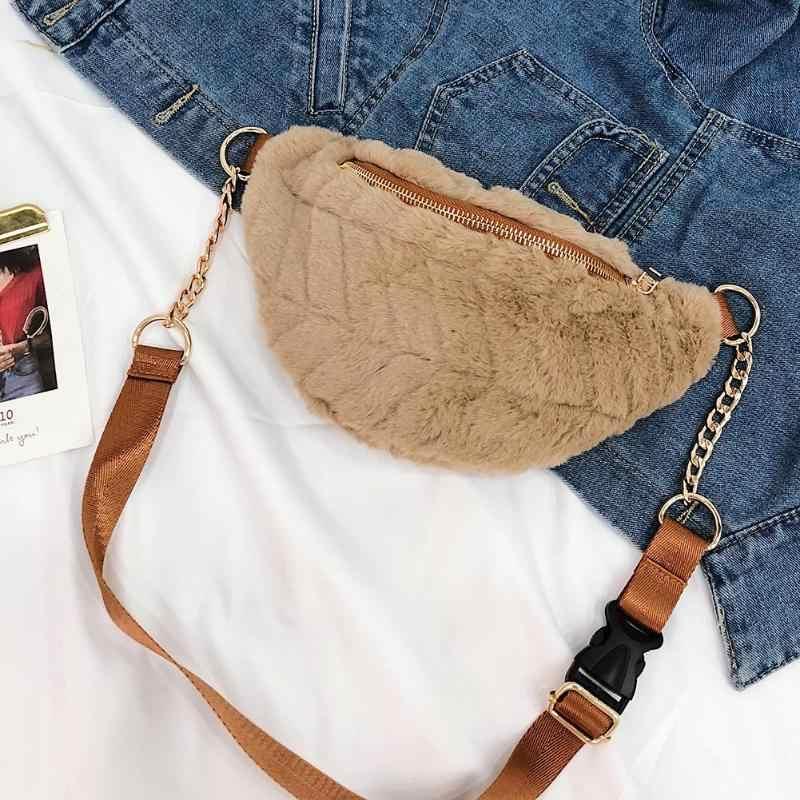 e3885626d583 ... 2019 Women Winter Faux Fur Chest Waist Bag Girls Cute Fashion Pink  Black Shoulder Crossbody Bags ...