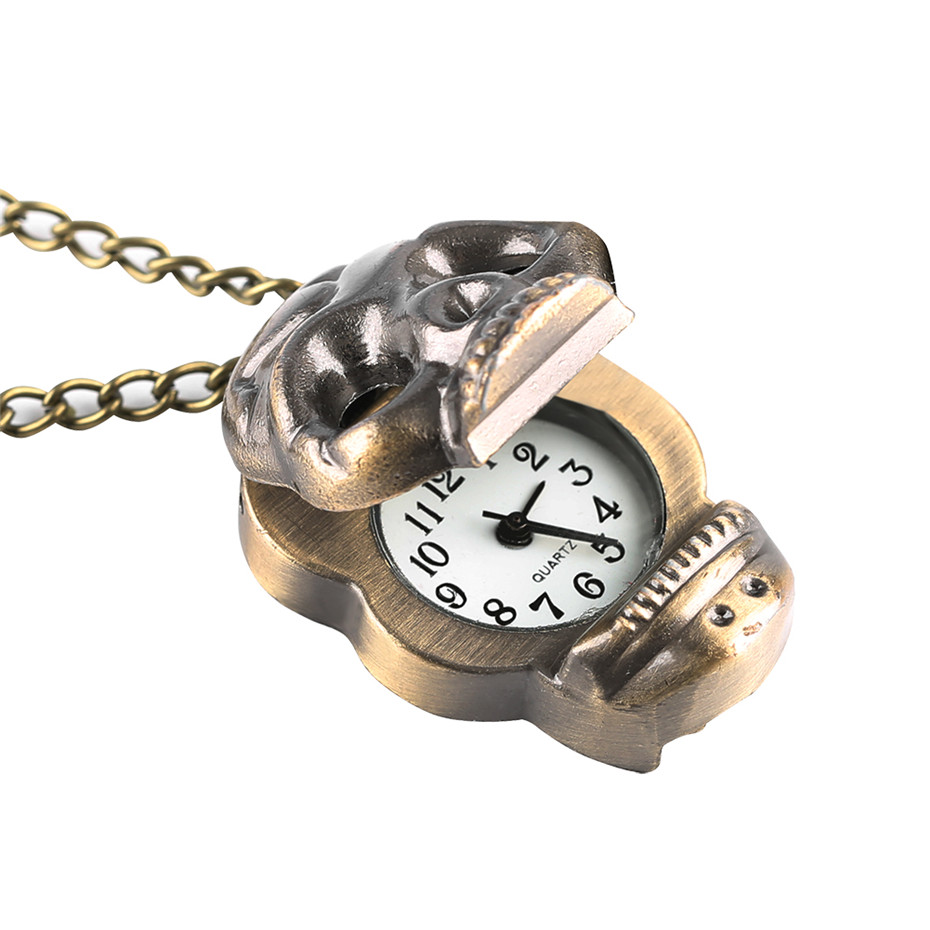 Steampunk Bronze Skull Head Quartz Pocket Watch Hollow Cool Pendant Clock With Necklace Chain Gifts For Men Women Children