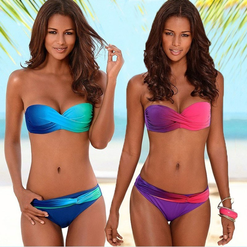 ced29edf64af Cheap Mujeres Sexy gradiente Bikinis Set ropa de playa sólida verano nuevo  traje de baño tubo