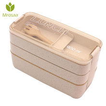 3 Layer Wheat Straw Bento Boxes 900ml Healthy Material Lunch Box Microwave Dinnerware Food Storage Container Lunchbox(China)