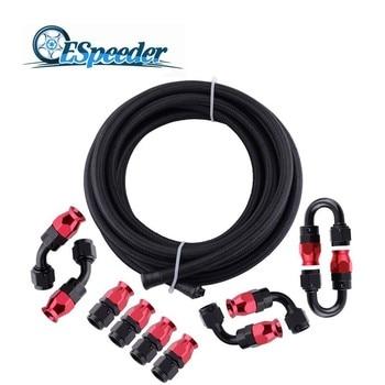 ESPEEDER AN6 0/45/90/180 Degree Aluminum Swivel Hose End Fitting 5 Meter PTFE Fuel Hose Line Oil Cooler Hose Adapter Kit