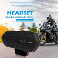 Be6 Bluetooth Motorcycle Helmet Headset with Microphone Waterproof Wireless Intercom Interphone for 2 Riders Motor Accessories
