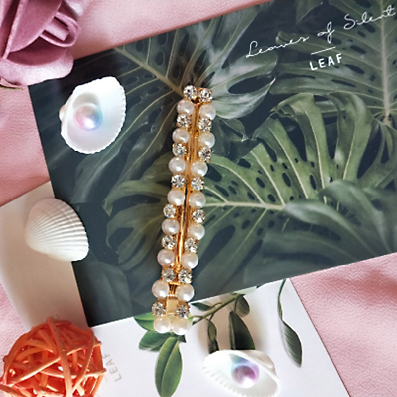 Sale Korean White Metal Crystal Girls Hair Clips Sweet Pearl Lady Elegant Hairpins Barrette Weddings Party in Women 39 s Hair Accessories from Apparel Accessories