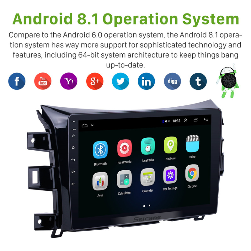 """Seicane 10.1"""" Android 8.1 Car Auto Radio For 2011 2012 2013 2014 2015 2016 Nissan NAVARA Frontier NP300 GPS Multimedia Player-in Car Multimedia Player from Automobiles & Motorcycles    2"""
