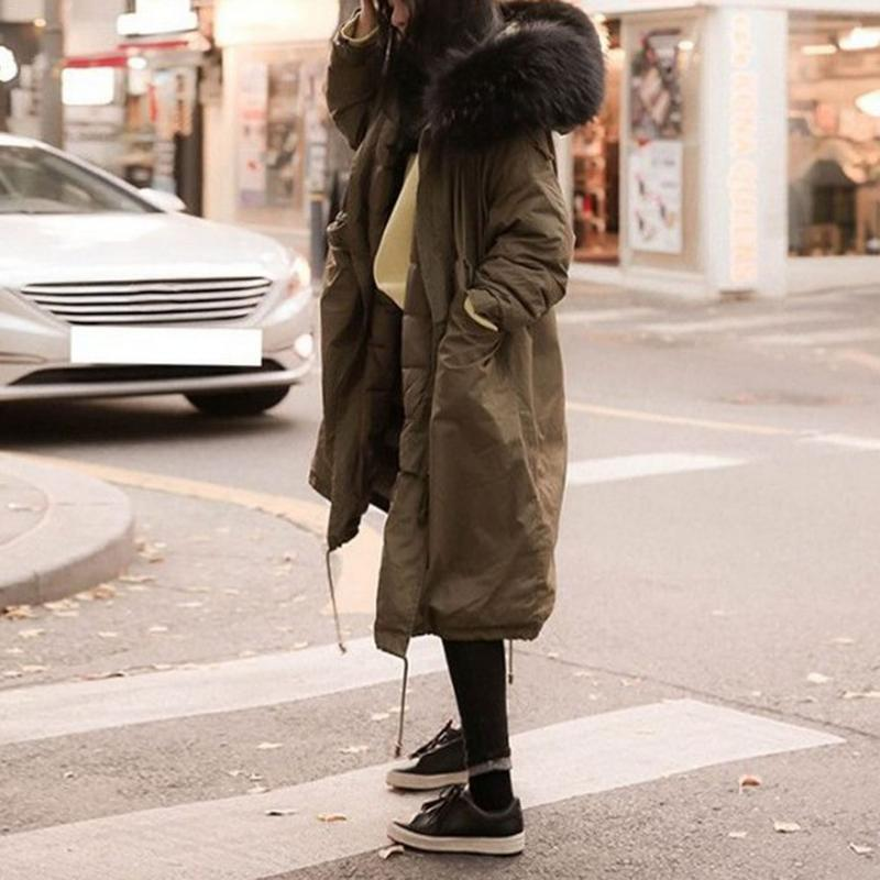 Winter Long Section Cotton Coat Couple Fur Collar Slim Thick Korean Version Of The Large Size Loose Tooling Cotton Suit Lovers