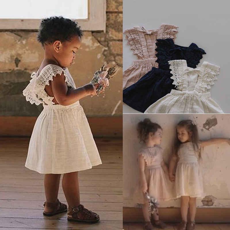 Nowa sukienka dla niemowląt koronki bez rękawów maluch bawełna na co dzień dziecko sukienka stałe Tutu pierwsza dziewczyna urodziny Party w wieku 0-3 lat