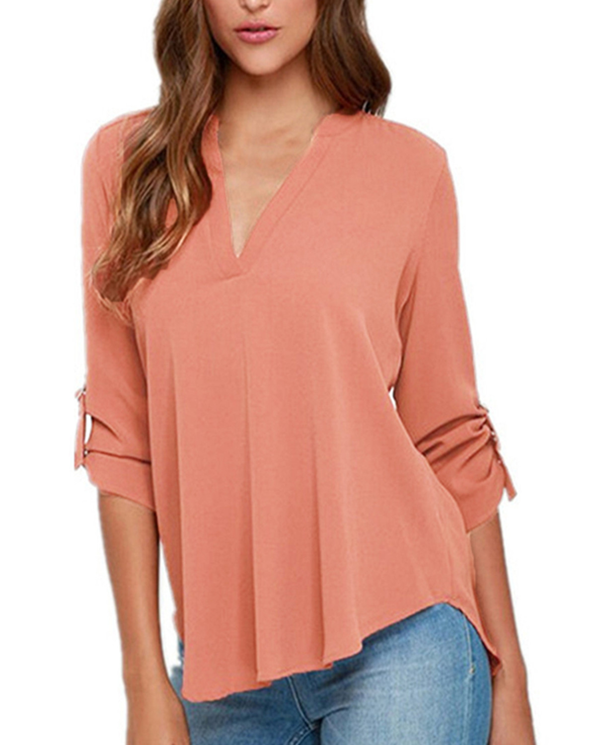 Casual Solid Blouses Shirts Women Summer Elegant Long Sleeve Sexy V Neck Tops Female Asymmetrical Blusas Femininas Plus Size 3XL