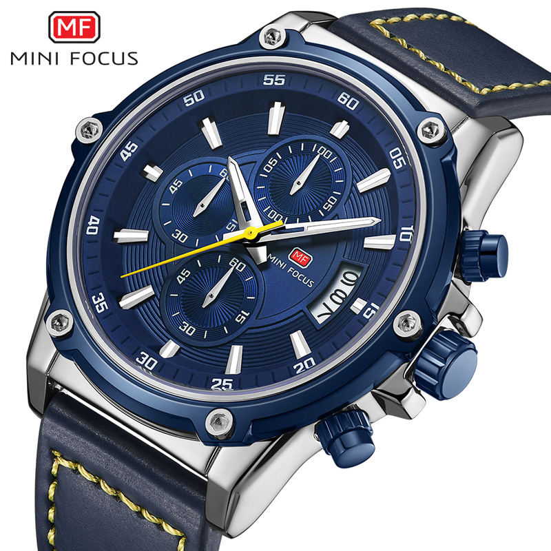 MINIFOCUS Mens Watches Top Brand Luxury Watch Men Waterproof Leather Strap Relogio Masculino reloj hombre Blue