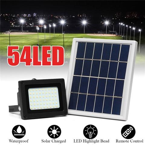 luzes de inundacao solares 54 led 400 lumens 3 w painel solar ao ar livre