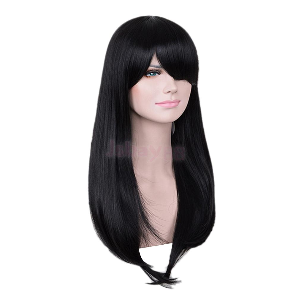 23'' Fashion Silky Black Long Straight Wigs Real Human Hair Wigs Natural Full Head Wig for Cosplay Costume Party 65cm cosplay wig lady long wavy hair full wigs party 3 colors