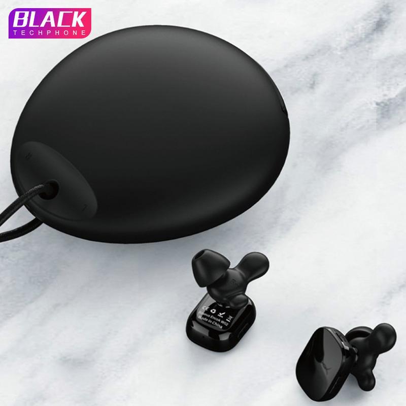 Pour Encok W02 True casque sans fil Bluetooth avec sac de rangement en Silicone + casque antibruit en corne casque étanche