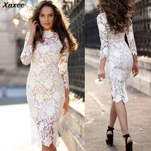 Xnxee 2019 Vestidos New Sexy Sheath Solid White Lace Dress Summer Women Dresses Fashion Party Vestido De Fiesta