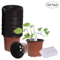 OUNONA 100PCS Plastic Lightweight Seedlings Nursery Pots and 100PCS Plants Tags for Office Gardern Home