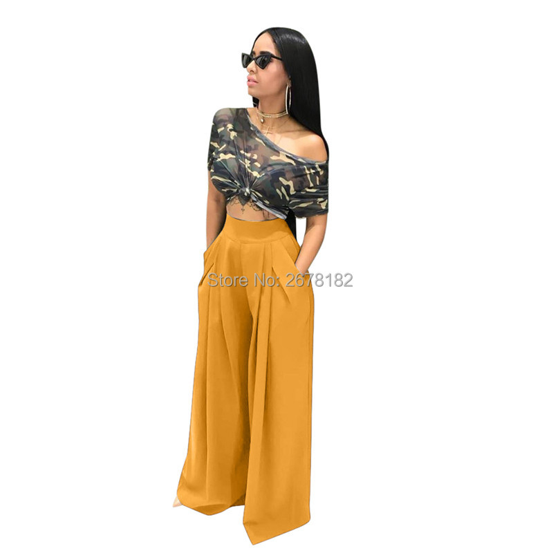 Pantalon Femme Fashion High Waist Women Pants Solid Streetwear Wide Leg Pants Female Trousers S2018
