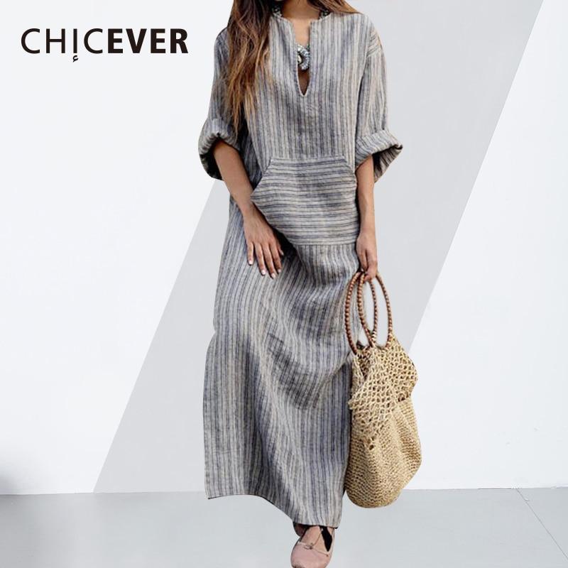 fa09b7933af0d CHICEVER Vintage Striped Dress For Women Loose Plus Size 4XL 5XL Autumn  Long Sleeve Women's Dresses Female Clothes Fashion New