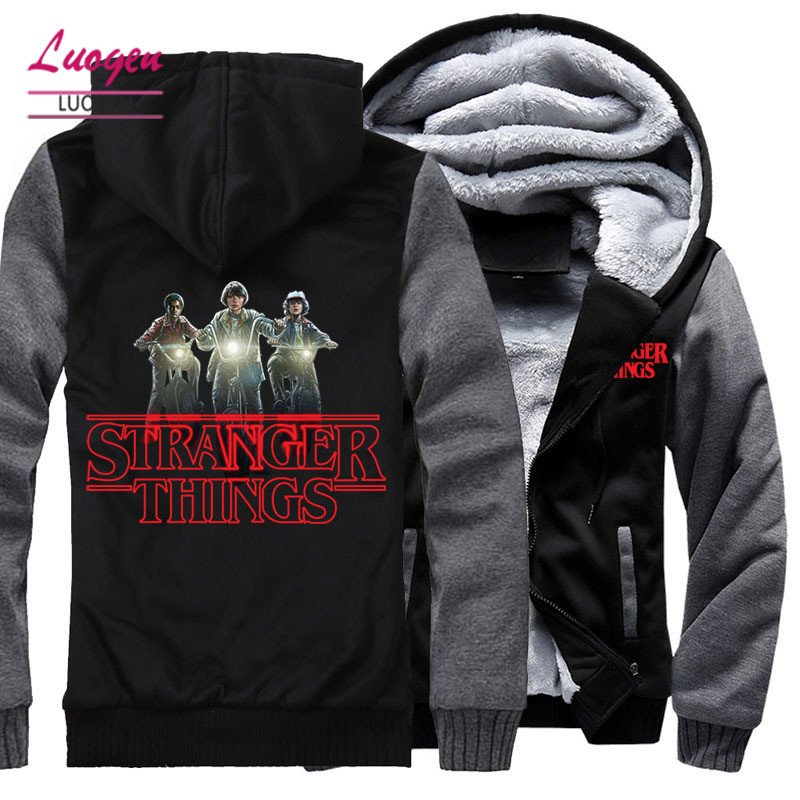 USA SIZE Men's Hoodies Stranger Things Printed Jackets For men Winter Fleece Hoody Male Coat Warm Casula Clothes Fashion Tops