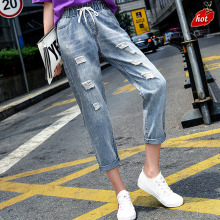 FRAME BEN High Waist Hole Ripped Distressed Boyfriend Denim Jeans Women Autumn Loose