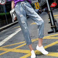 High Waist Hole Ripped Distressed Boyfriend Denim Jeans Women Autumn Large Casual Loose Plain Straight Ankle Length Pants O8R2