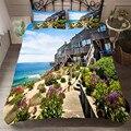 Bettwäsche Set 3D Druckte Duvet Abdeckung Bett Set Strand Resort Home Textilien für Erwachsene Lebensechte Bettwäsche mit Kissenbezug # HL12-in Bettwäsche-Sets aus Heim und Garten bei
