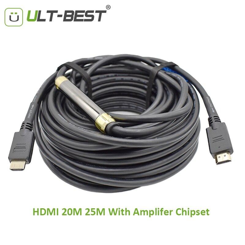 HDMI ULT-Meilleur Câble UHD 4 k X 2 k HDMI 2.0 HDR HDCP 10 m 15 m 20 m 25 m avec Amplificateur Chipset Booster pour L'ingénierie Affichage Extérieur